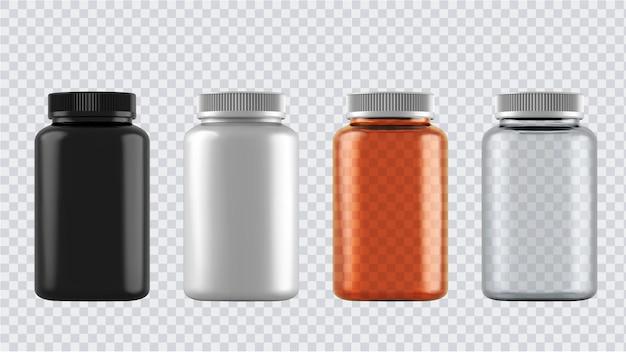 Реалистичные макеты бутылок. 3d пластиковые пустые медицинские контейнеры изолированы. Premium векторы
