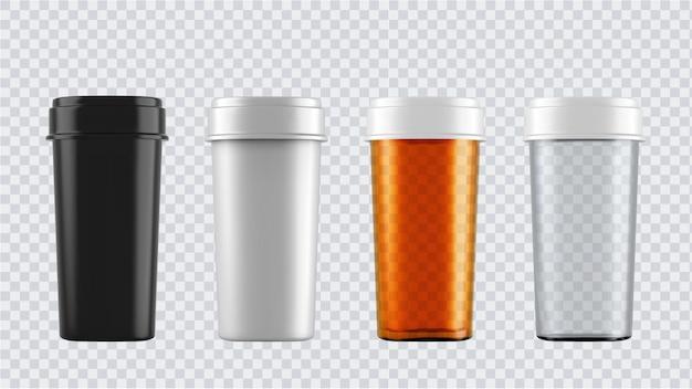 Реалистичные макеты бутылок. 3d пластиковые пустые медицинские контейнеры изолированы.