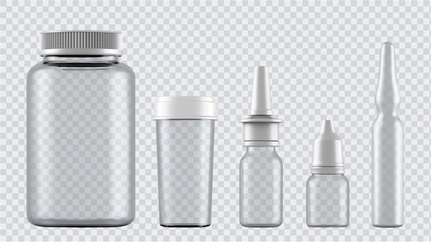 현실적인 모의 병. 3d 플라스틱 빈 의료 용기 절연입니다.