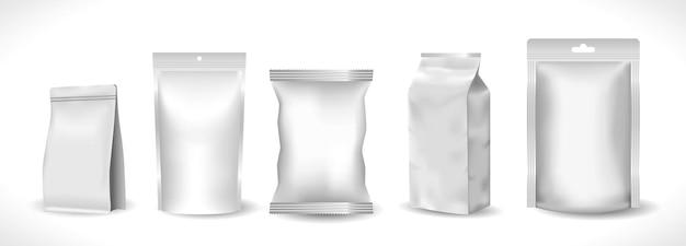 Реалистичный макет пластикового карманного продукта или пакета на молнии из фольги