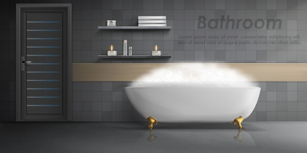 Realistic mockup of bathroom interior, big white ceramic bathtub with foam, shelves