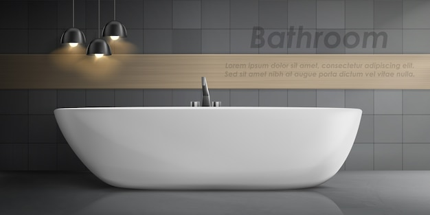 Realistic mockup of bathroom interior with big white ceramic bathtub, metal tap