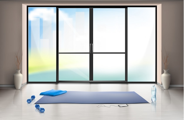 Realistic mockup of empty gym hall for fitness trainings with blue yoga mat and dumbells