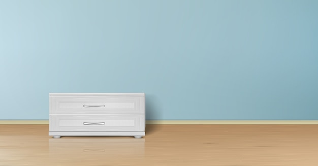 Realistic mockup of empty room with flat blue wall, wooden floor and stand with drawers.