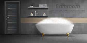 Realistic mockup of bathroom interior, big white ceramic bathtub with foam, shelves