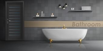 大きな白いセラミックバスタブ、金色の金属タップ付きのバスルームインテリアの現実的な模型