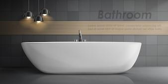 大きな白いセラミックバスタブ、金属タップ付きのバスルームインテリアの現実的なモックアップ