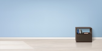 Realistic mockup of empty room with flat blue wall, wooden floor, brown stand with books