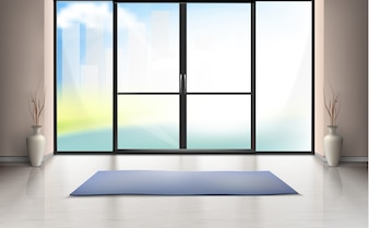 Realistic mockup of empty room with large glass door, blue carpet on clean floor