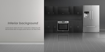 Realistic mockup of kitchen room interior with household appliances, refrigerator