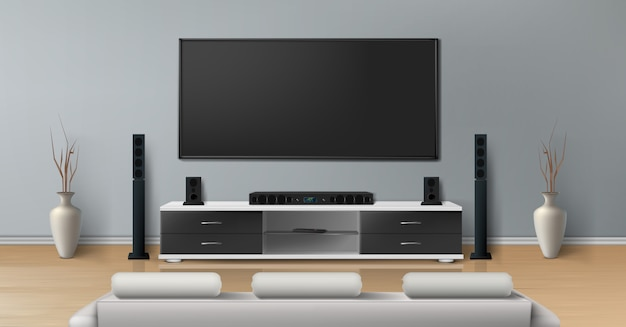 Реалистичный макет гостиной с большим плазменным телевизором на плоской серой стене, черная подставка