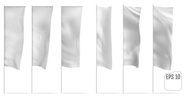 화이트 배너 플래그의 현실적인 모형입니다. 화이트 배너 플래그. 벡터 세트