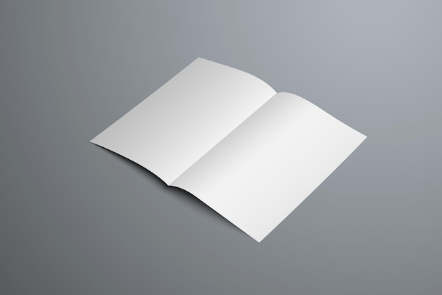 Realistic mockup of open bi-fold booklet. white blank letterhead template for design presentation. isolated on background.