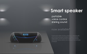 Realistic mockup with black portable smart speaker on gray background.