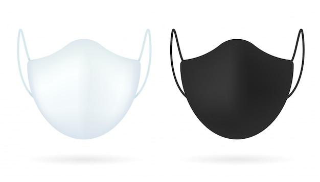 현실적인 모델 화이트 의료 마스크입니다. 코로나 보호를위한 건강 마스크 흰색 배경에서 분리.