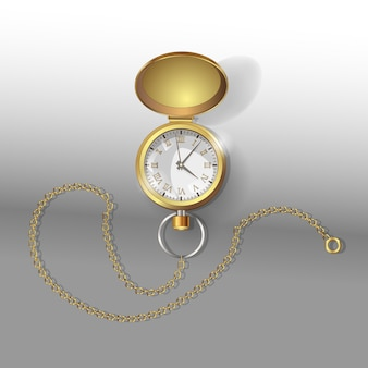 체인이 달린 골드 포켓 시계의 현실적인 모델.