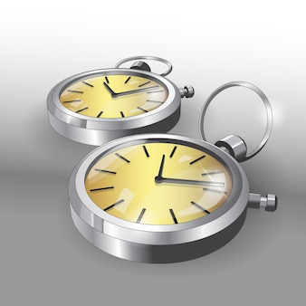 포켓 실버 시계의 사실적인 모델. 두 개의 클래식 포켓 시계 포스터 디자인 템플릿.
