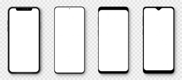 透明な画面を備えた現実的なモデルのスマートフォン。スマートフォンコレクション。デバイスの正面図。透明な背景に影付きの3d携帯電話