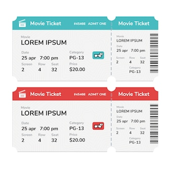 Realistic modern cinema tickets isolated on white background