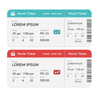 Realistic modern cinema tickets