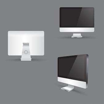 現実的な現代コンピューターモニターアイコンを設定。コンピューターの画面