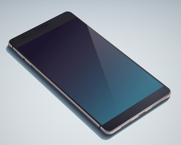 Concetto di smart phone dal design moderno realistico con display in bianco blu scuro sul blu isolato