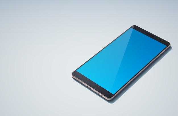 Realistic modern design smart phone concept with sky blue blank screen on the blue  isolated