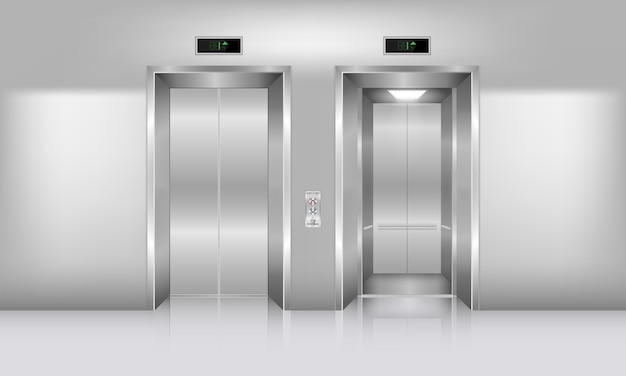 Realistic modern elevator and interior decoration, lobby lift entrance and hall access office building.