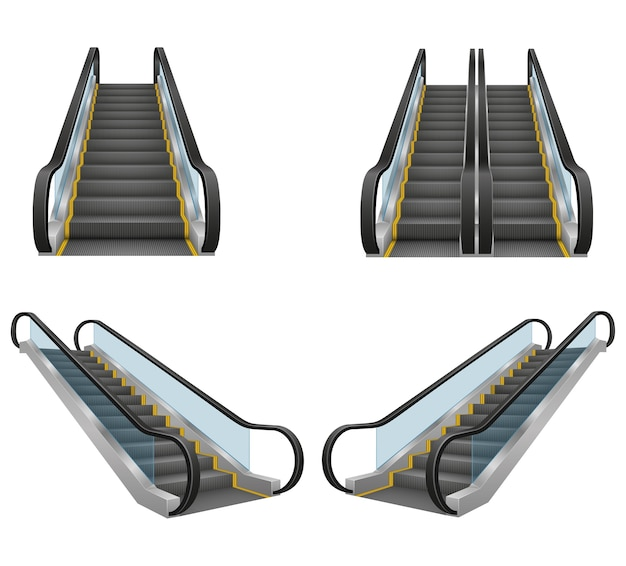 Realistic modern escalator  illustration isolated on white background