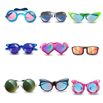 Realistic modern fashion style sun protection sunglasses with colorful lenses and frames ov