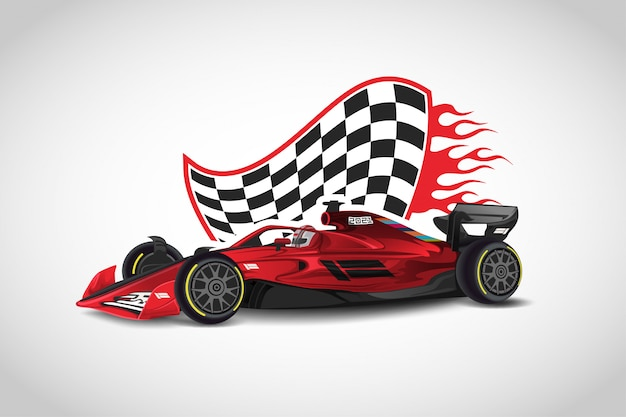 Realistic modern formula 1 red  racing car  vector