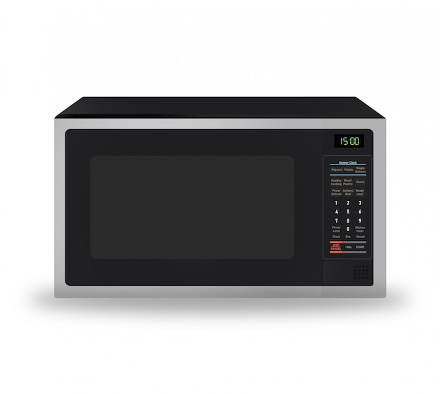 Realistic modern microwave for kitchen appliance