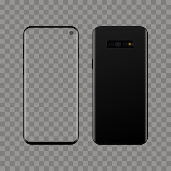 Realistic modern smart phone on transparent background. vector
