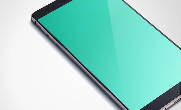 Реалистичная современная концепция смартфона со светлым пустым экраном на белом изолированном