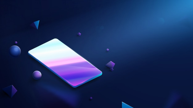 暗い青色の背景に現実的な現代のスマートフォン。フローティングブルージオメトリックバーチャルリアリティ。現代の革新的なテクノロジー