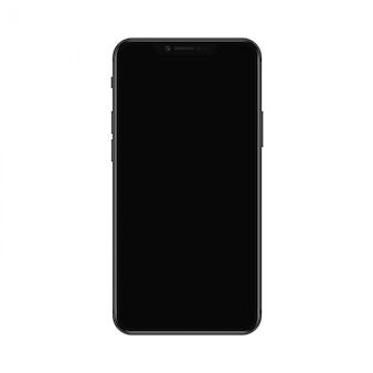 Реалистичный современный смартфон с черным экраном