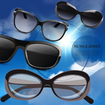 Realistic modern stylish sunglasses poster with fashionable eyeglasses on blue sky background
