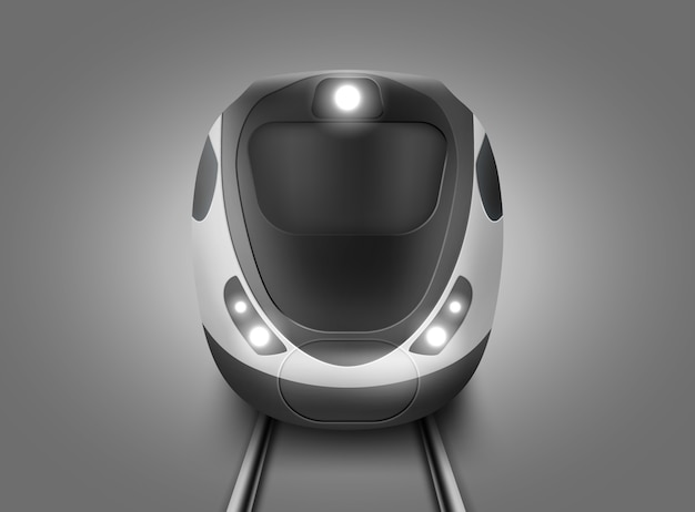 Realistic modern subway train front view