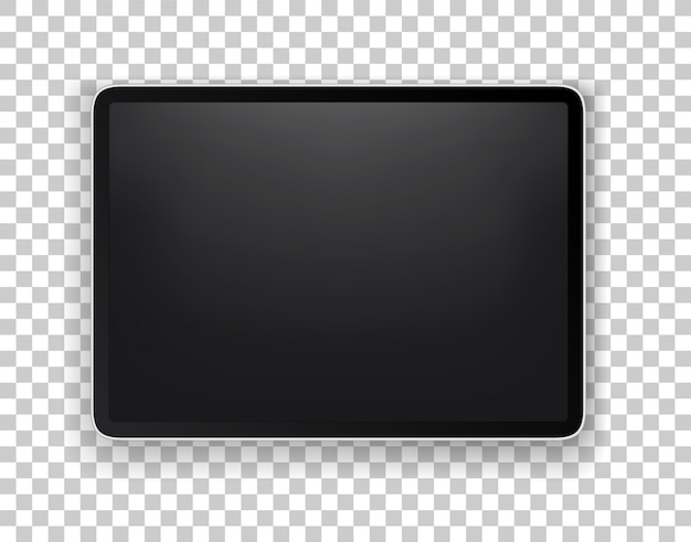 Realistic modern tablet layered vector mock-up isolated on transparent background