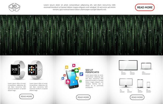 Реалистичный современный технологический шаблон с фоном двоичного кода, умные часы, экран телевизора, ноутбук, монитор, телефон, планшет, и иллюстрации значков мобильных приложений,