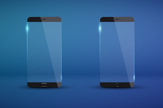 Realistic modern transparent smartphone mockup