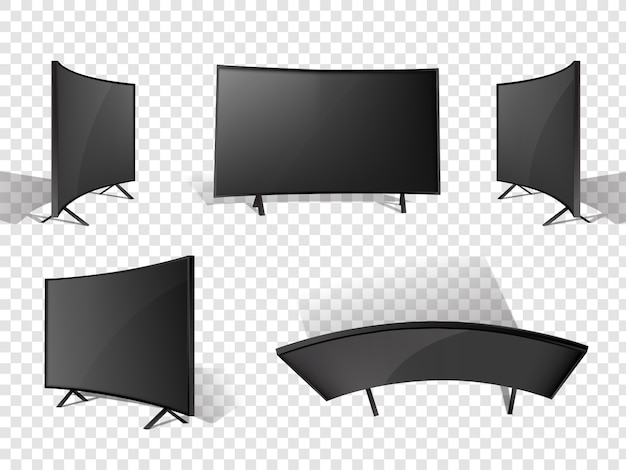 Realistic modern tv set in different angles.