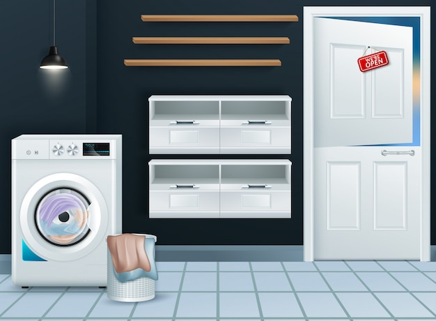 Realistic modern washing machine in empty laundry room