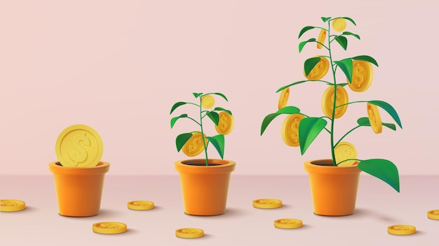 Realistic money tree with gold coins dollars.