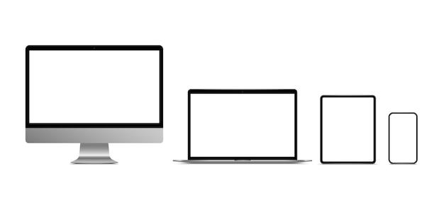 リアルなモニターコンピューター、ラップトップ、タブレット、スマートフォン。最新のデバイスセット。デスクトップコンピュータ、ノートブック、タブレット、空白の画面を持つ携帯電話。
