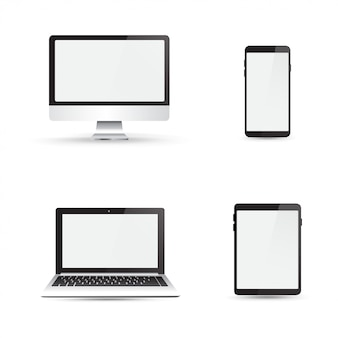 Realistic monitor, laptop, tablet, and smartphone