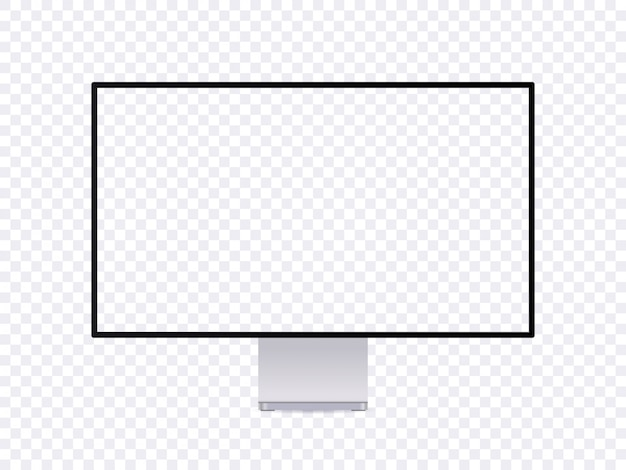 Realistic monitor mockup, modern thin frame computer display with empty place.