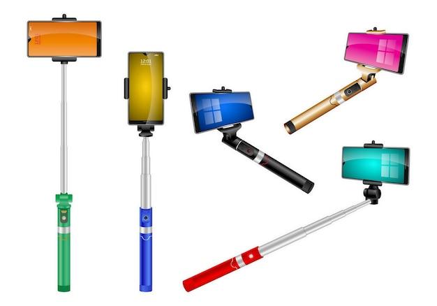 Реалистичные моно стручки селфи палка изолированный телескопический держатель для смартфона фото автопортрет