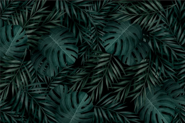 Realistic monochromatic tropical leaves background