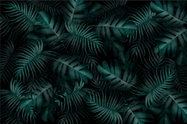 Realistic monochromatic tropical leaves wallpaper